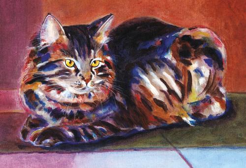 """Terra Cotta Tabby"" original fine art by Pamela Gatens"