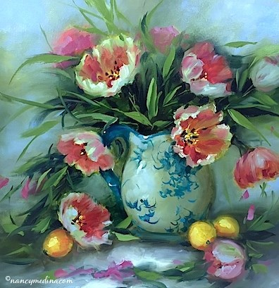 """""""The Perfect Man - Circle of Friends Tulips - Flower Paintings Workshops and Classes by Nancy Medina"""" original fine art by Nancy Medina"""