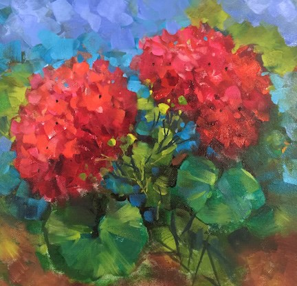 """""""Step by Step French Geraniums and Painting Flowers From Ancient Markets"""" original fine art by Nancy Medina"""