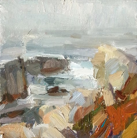 """""""Painting in California 19 Rocks in evening light (sold)"""" original fine art by Roos Schuring"""