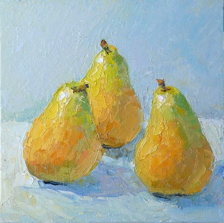 """Palette Knife Pears,still life,oil on canvas,8x8.priceNFS"" original fine art by Joy Olney"