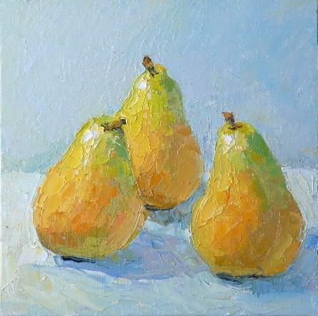 """Palette Knife Pears,still life,oil on canvas,8x8.priceNFS"" original fine art by Joy Olney"