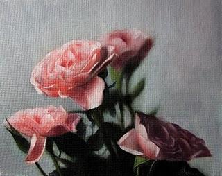 """Pink Roses 2"" original fine art by Jonathan Aller"
