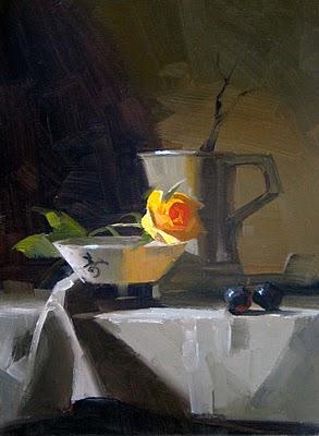 """""""Yellow Rose 2"""" original fine art by Qiang Huang"""