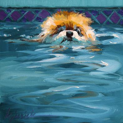 """Pool Pom"" original fine art by Karin Jurick"