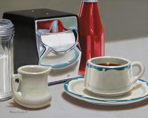 """I've only got time for one cup."" original fine art by Nance Danforth"