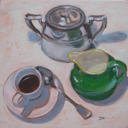 """Reflecting on my espresso"" original fine art by Sandy Haynes"