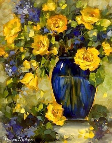 """High Altitude Yellow Roses and a North Texas Workshop by Nancy Medina"" original fine art by Nancy Medina"