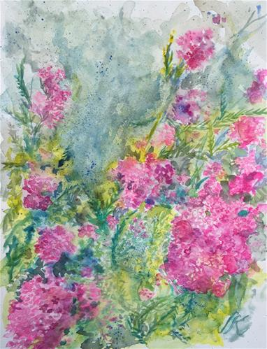 """Pink Yarrow"" original fine art by Jean Krueger"