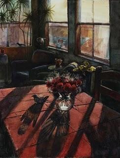 """Watercolor: Red Table in Winter Light"" original fine art by Belinda Del Pesco"