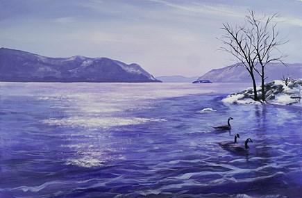 """Winter on the Hudson"" original fine art by Jamie Williams Grossman"