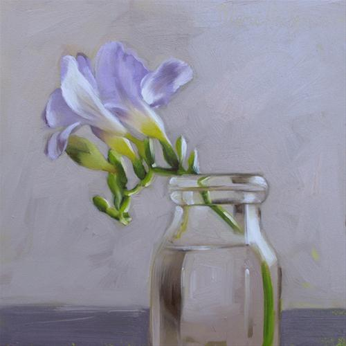"""Lone Freesia painting single bloom"" original fine art by Diane Hoeptner"