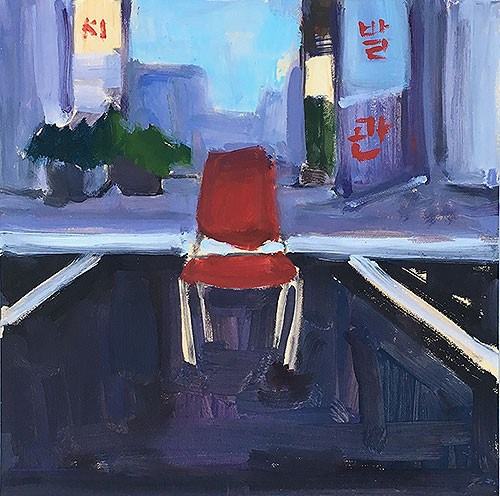 """Chair at the Korean Barber"" original fine art by Kevin Inman"
