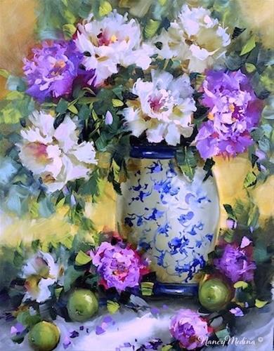 """""""The Sisterhood Peonies and a Florida Workshop - Flower Paintings by Nancy Med"""" original fine art by Nancy Medina"""