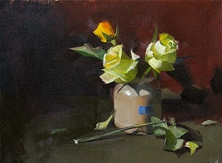 """Yellow Roses Under Cool Light --- Sold"" original fine art by Qiang Huang"