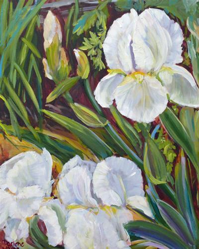 """White Irises"" original fine art by Darlene Young"