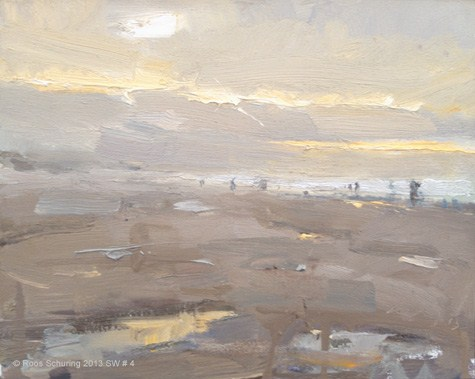 """""""Seascape winter 4 And evening came suddenly (available) Zeegezicht"""" original fine art by Roos Schuring"""