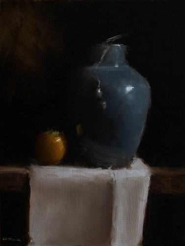 """""""Vase with Persimmon"""" original fine art by Neil Carroll"""