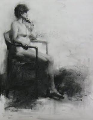 """""""Figure drawing 4"""" original fine art by Fongwei Liu"""