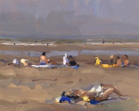 """Seascape summer # 17 Sun+People (sold)"" original fine art by Roos Schuring"