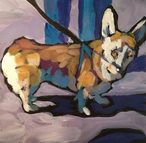 """Shy Woofstock Corgi"" original fine art by Kat Corrigan"