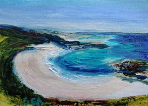 """""""3017 - THE BEACH - ACEO Series"""" original fine art by Sea Dean"""