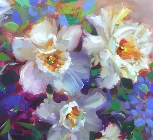 """""""Six Days to Painting Brilliant Colors ~ An Online Course ~ Daffodils in Bloom ~ Nancy Medina Art"""" original fine art by Nancy Medina"""