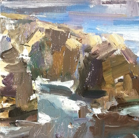 """""""Painting in California 14 At Rocky Point (sold)"""" original fine art by Roos Schuring"""