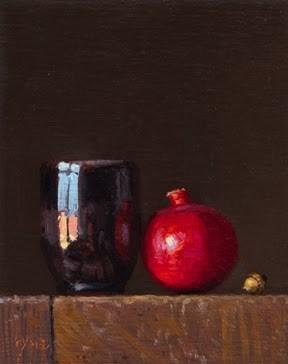 """Still Life with Acorn, Pomegranate, & Handmade Cup"" original fine art by Abbey Ryan"