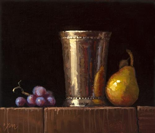 """Concord Grapes, Silver Cup, & Seckel Pear"" original fine art by Abbey Ryan"