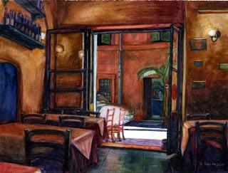 """""""Watercolor: Il Fico Ristorante"""" original fine art by Belinda Del Pesco"""