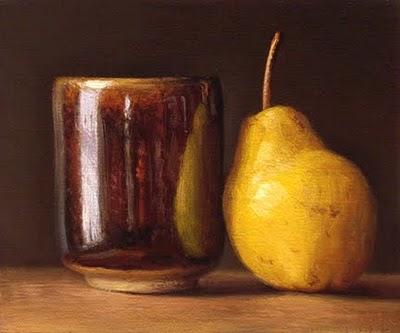"""Bartlett Pear and Tea Bowl with Hare's Fur Glaze"" original fine art by Abbey Ryan"
