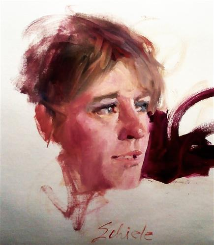 """head sketch of woman...Greta"" original fine art by Richard Schiele"