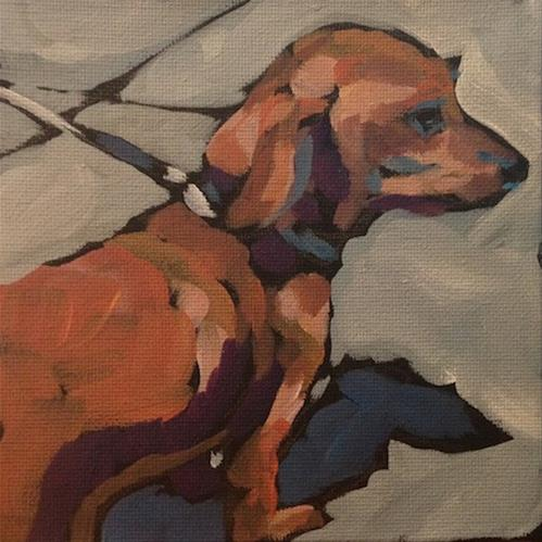 """Doxie Shadow"" original fine art by Kat Corrigan"