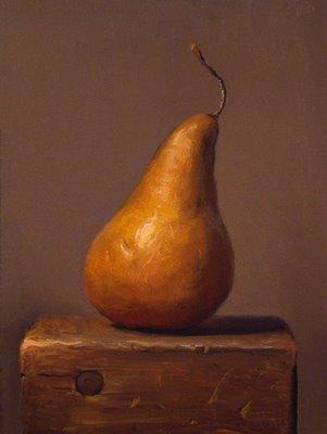 """Pear on a Wood Block"" original fine art by Abbey Ryan"