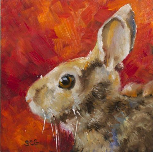 """Rabbit Study"" original fine art by Sue Churchgrant"