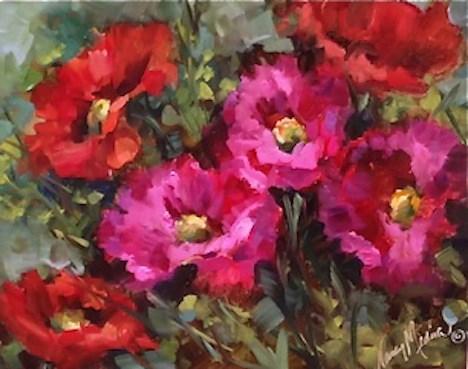 """Life Anew Pink and Red Poppies by Texas Flower Artist Nancy Medina"" original fine art by Nancy Medina"