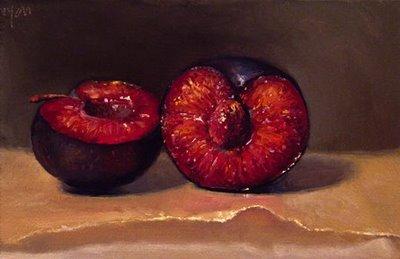 """Cut Plum No. 2, on wax paper"" original fine art by Abbey Ryan"