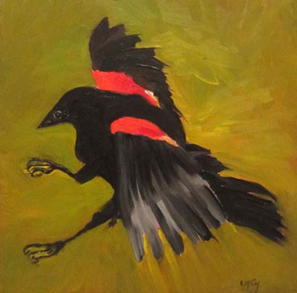 """In For a Landing, Red Winged Blackbird"" original fine art by Linda McCoy"