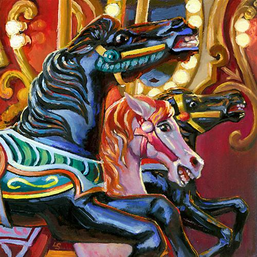 """""""First Carousel"""" original fine art by Lesley Spanos"""