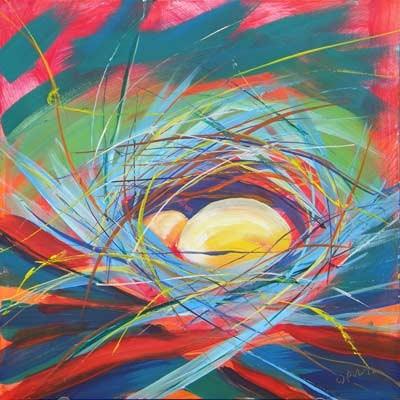 """""""Nests of Prosperity 10"""" original fine art by Pam Van Londen"""