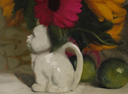 """Two Cats original oil painting by Hoeptner"" original fine art by Diane Hoeptner"