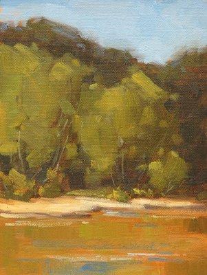 """""""Golden Creek"""" original fine art by Laurel Daniel"""