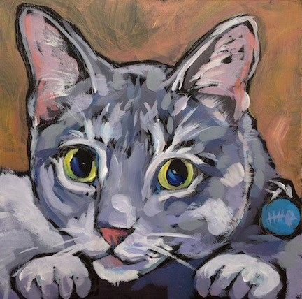 """Chairman Meow"" original fine art by Kat Corrigan"