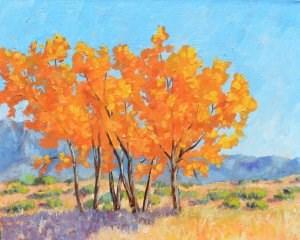 """Flaming Cottonwoods"" original fine art by Robert Frankis"