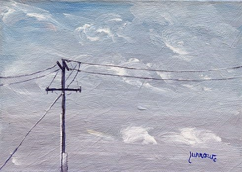 """""""ORIGINAL SKYSCAPE PAINTING WITH UTILITY POLE"""" original fine art by Sue Furrow"""