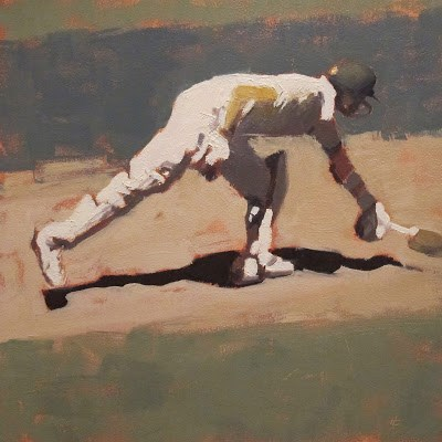 """""""BATSMAN 5 - Cricket at the MCG"""" original fine art by Helen Cooper"""