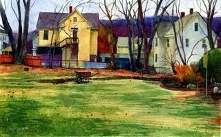 """Watercolor: Back Yard in New England"" original fine art by Belinda Del Pesco"