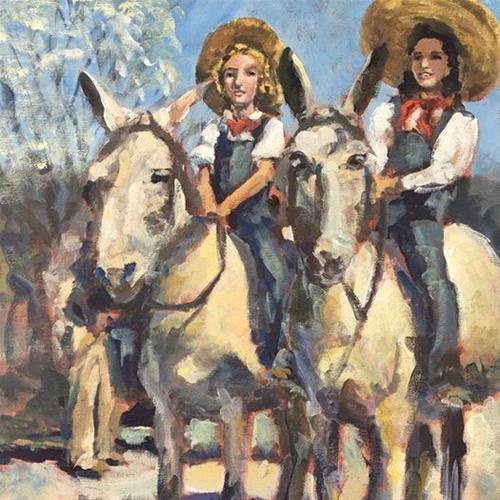 """Grable and Pickford"" original fine art by Susan Elizabeth Jones"