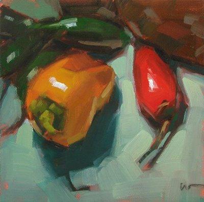 """Pepper City --- SOLD"" original fine art by Carol Marine"